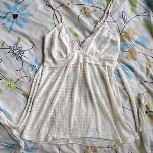 White striped camisole with sash that ties in back